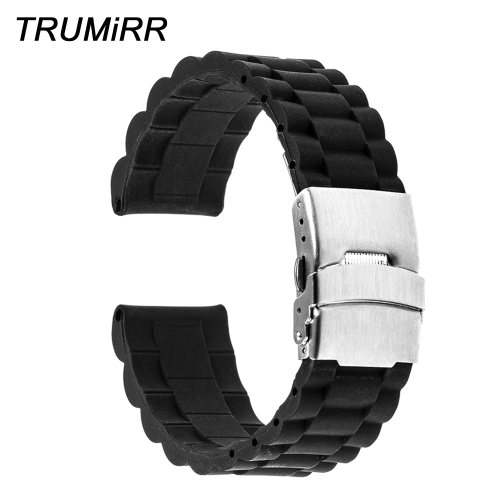 24mm Rubber Watchband + Tool for Suunto TRAVERSE Watch Band Stainless Steel Safety Buckle Strap Silicone Belt Bracelet Black купить в Москве 2019
