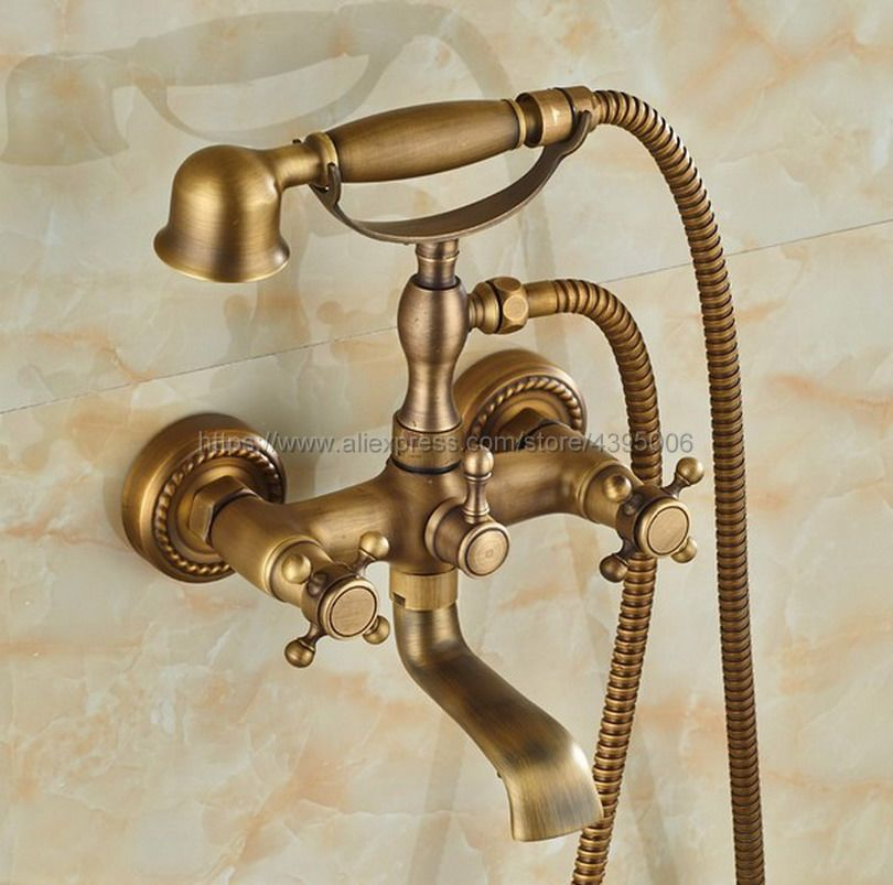 Free shipping Bathroom Bath Tub Faucet Hand Held Antique Brass Shower Head Kit Shower Faucet Sets Btf024 купить в Москве 2019
