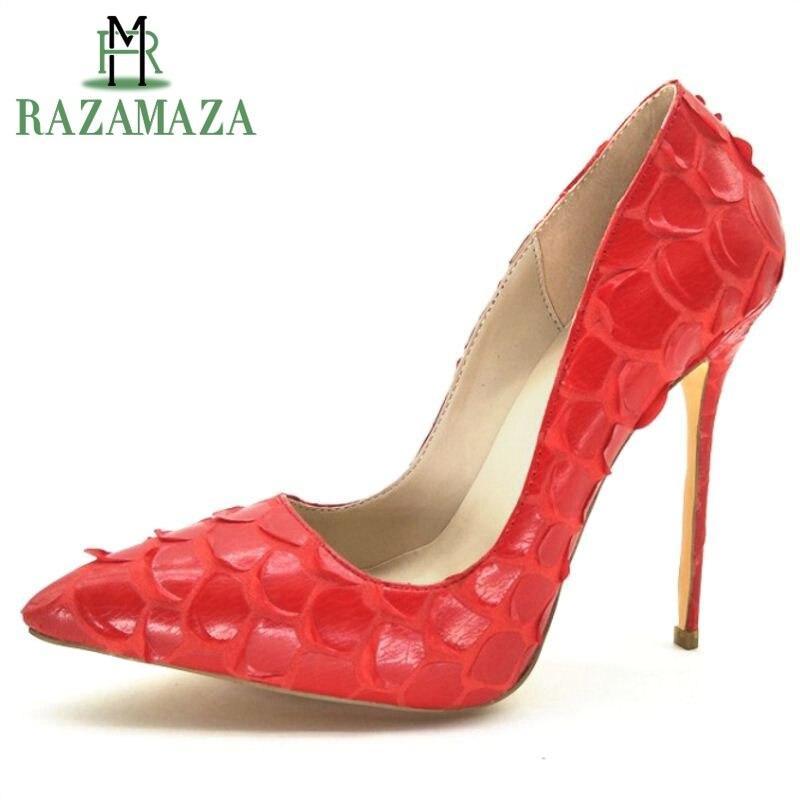 Tamaño Boda Punta La Mujer Señoras Del Rojo Zapatos Super Dedo Calzado Novedad Delgado Partido De 43 34 Razamaza Moda Pie Tacones Mujeres n7AUOO0q