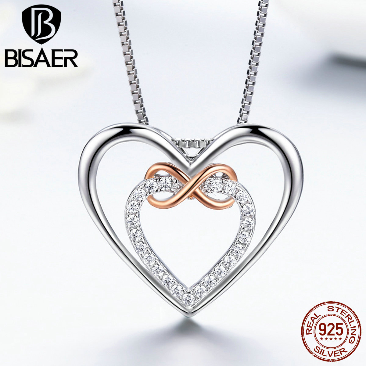 BISAER 925 Sterling Silber Unendlichkeit Liebe Für Immer Herz Anhänger  Halskette Frauen Sterling Silber Schmuck Valentinstag 95b4ffbb2d