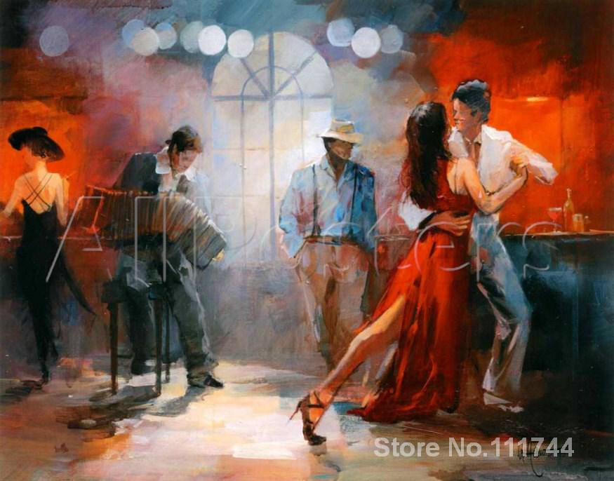 art Oil paintings Tango in braun pub. Sold Willem Haenraets reproduction Handmade High quality