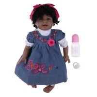 22 дюймов африканская кукла мягкая виниловая новорожденная девочка кудрявые волосы девочка кукла с бутылочка для кормления