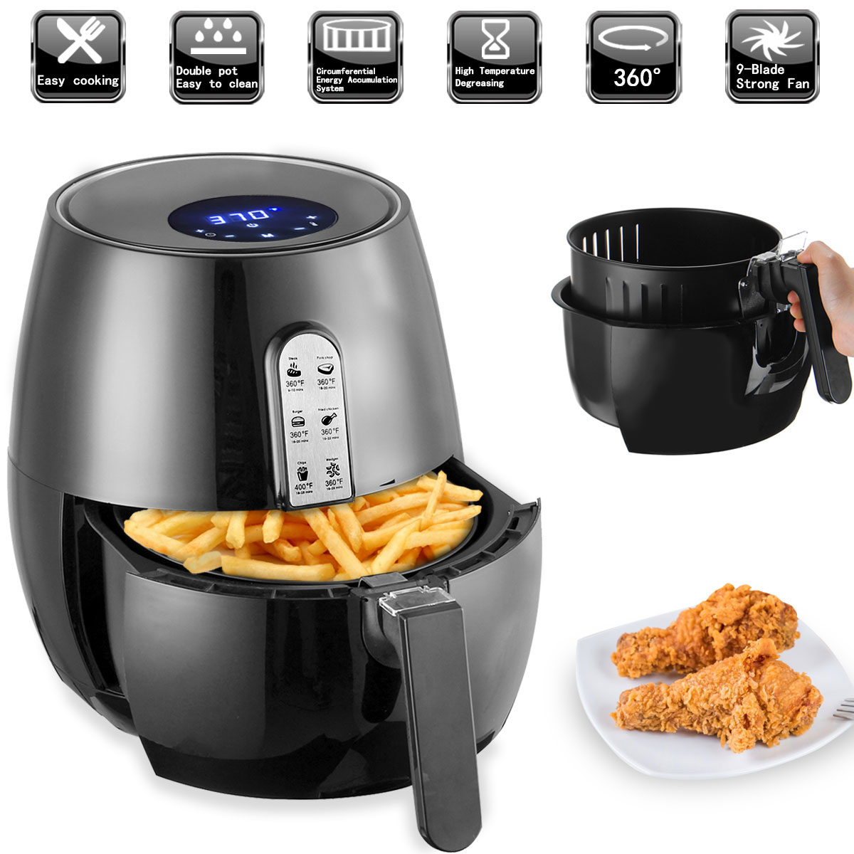 1400W Electric Deep Fryer Air Fryer Digital LED Touch Screen Timer Temperature Control Power Air Fryer Eletric