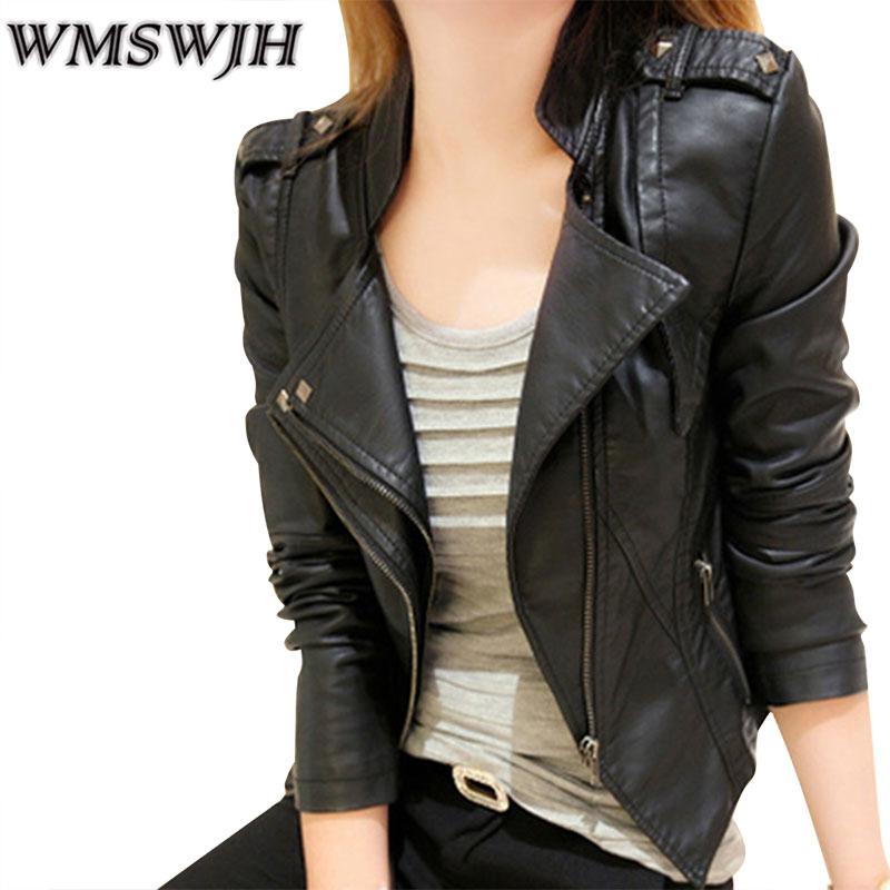 Jaro podzim levné kožená bunda ženy módní tenký krátký styl s dlouhým rukávem příležitostné pu motocyklová bunda dámská bombardérská bunda