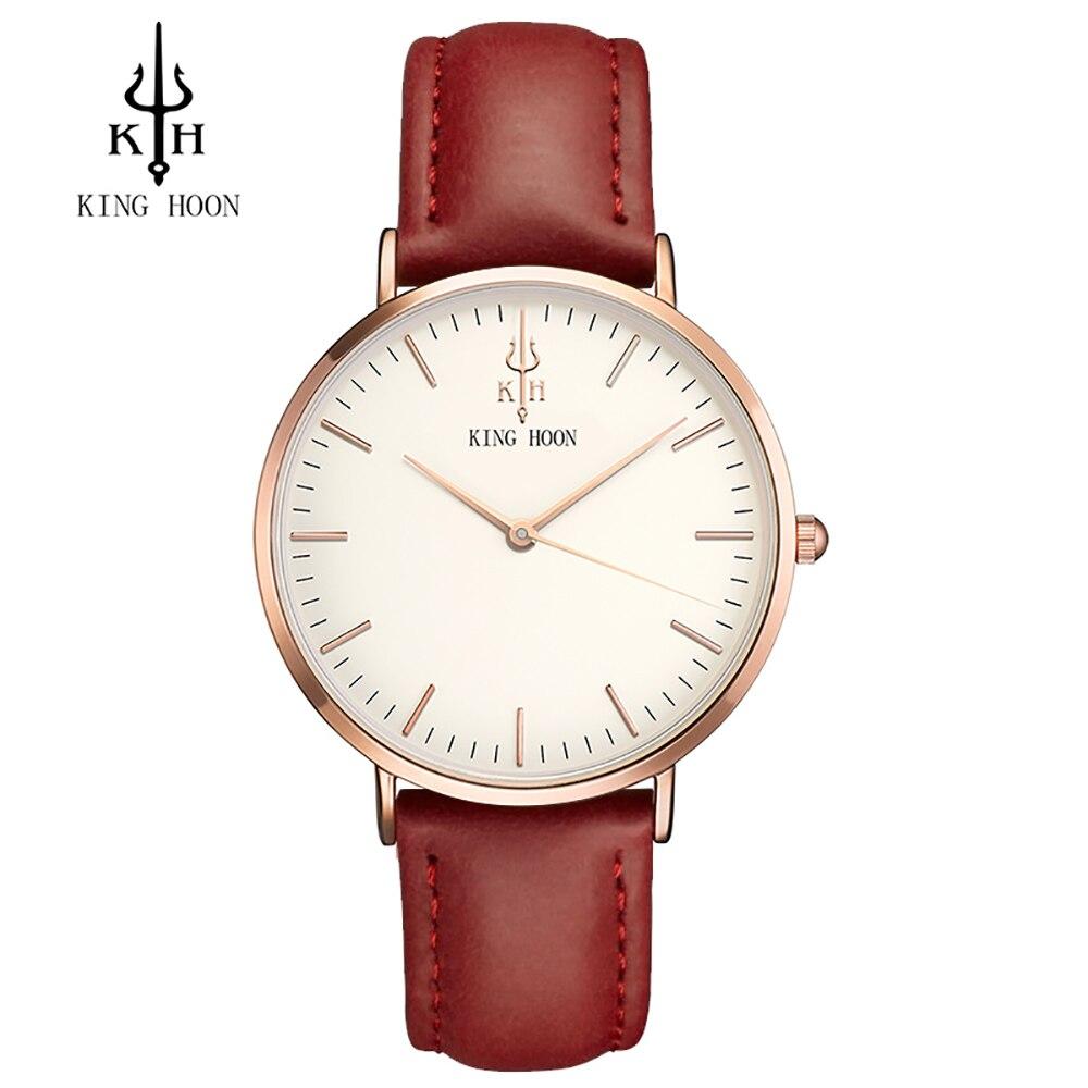 2017 luxus Marke KÖNIG HOON Sport Uhren Frauen Leder Ultra Slim Gold Quarz-uhr Männlich Weiblich Uhr Relogio Feminino Montre G