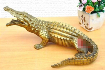 "Nice Bronze  Alligator Crocodile Statue Figure  9"" Long Statues Copper sculpture home decoration fengshui Dragon"