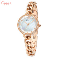 KIMIO Blue Dial Watches Women Fashion Casual Dress Rose Gold Bracelet Watch Top Brand Luxury Rhinestone