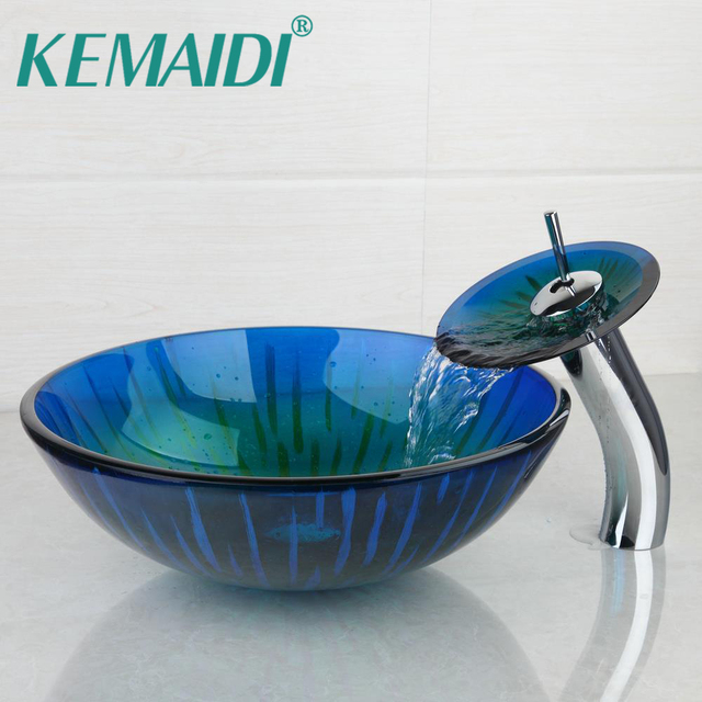 KEMAIDI Hand Made Sink Glass Basin Vessel Sink Contemporary Style Washbasin  Faucet Set Round Style With