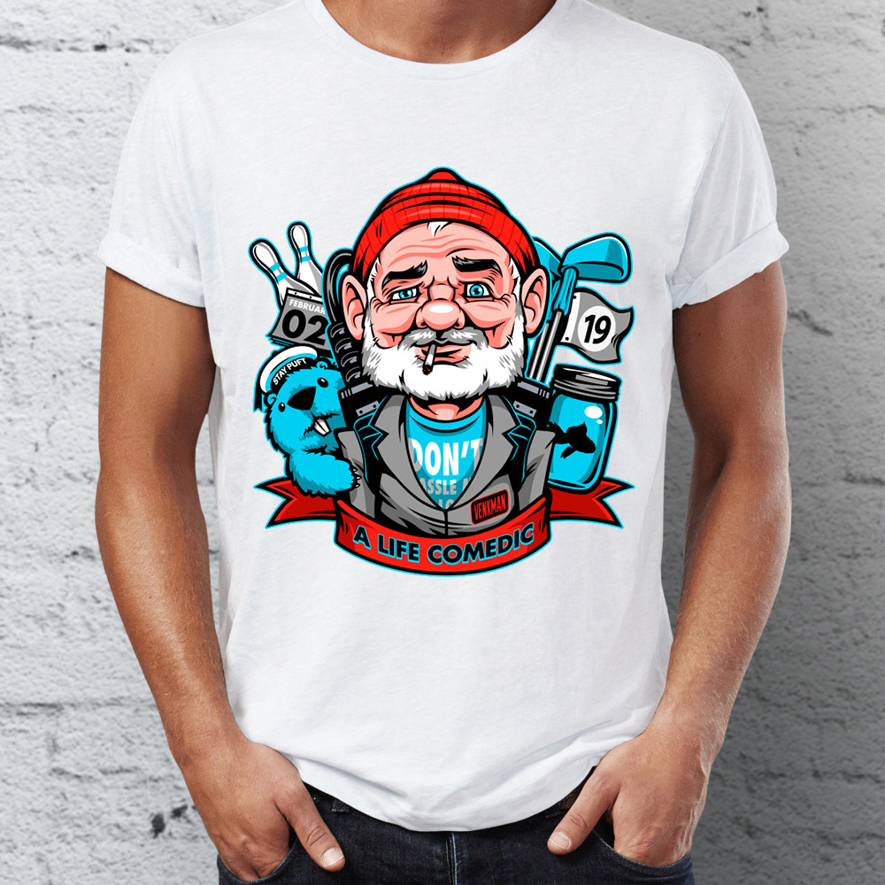 Men's T Shirt A Life Comedian Bill Murray Art Awesome Tee