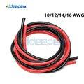 2 teile/los 1M Rot 1M Schwarz 10/12/14/16 Gauge AWG Elektrische Draht Verzinnten Kupfer PVC Silikon Flexible Kupfer Litze kabel Für RC