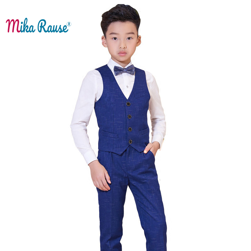 Fashion kids boys clothes sets children Spring clothing flower boy clothes dress teenager suits set for boys(Vest+Shirt+Trousers