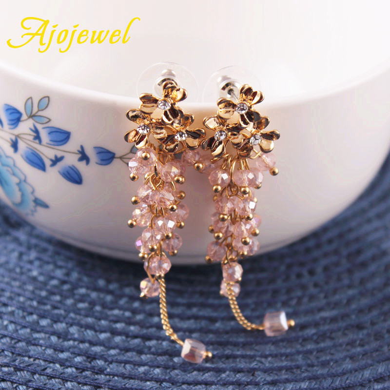 Ajojewel Trendy Smuk Crystal Beaded Tassel Drop Øreringe Flower Long - Mode smykker - Foto 2