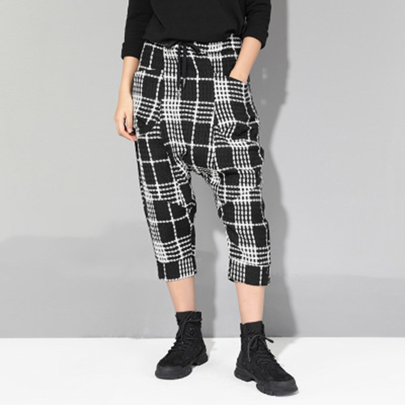2019 Summer Women Black And White Plaid Harem   Pants   Casual Lace Up Loose Trousers Elastic Waist Ankle Length   Pants