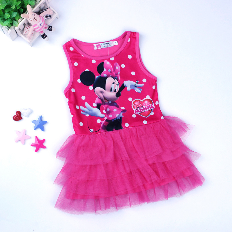 Minnie Mouse Girls Dress Kids Cute Ball Gown Cotton Sleeveless Mini Dress Rose Red Child Cartoon Summer Party Birthday Clothes