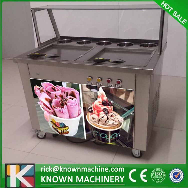 free shipping by sea double square pans with 5 topping tanks of fried ice cream roll machine with R410A Refrigerant