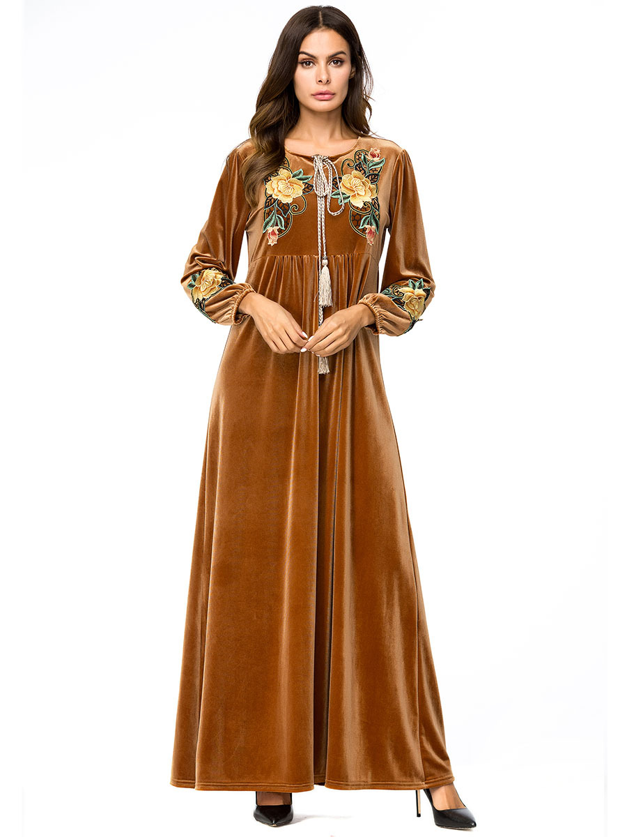 Velvet Muslim Dress Gown Moroccan Kaftan Dubai Arabic Abaya Islamic Clothing Bangladesh Vestidos Uae Robe Musulmane Longue