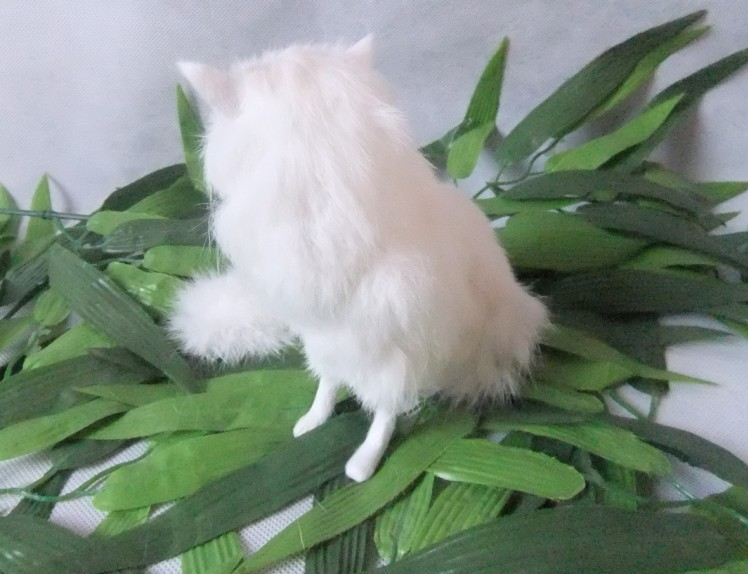 The simulation simulation white fox fur animals Handmade leather Home - Home Decor - Photo 5