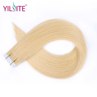 Yilite 14 18 Tape In Human Hair Extensions 20pcs Double Drawn European Blonde Remy Natural Straight Hair On Adhesives 8# 22#