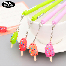 2pcs/lot cartoon candy color ice cream pendant gel pen students children writing stationery office supplies decorations