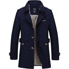 Men's Coat Casual Trench Fashion Autumn Long Windbreaker Khaki Black Turn-down O