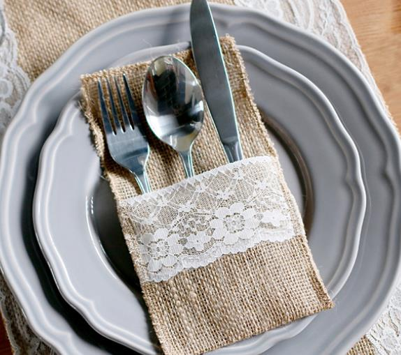1pcs Hessian Burlap Lace Wedding Tableware Pouch Cutlery