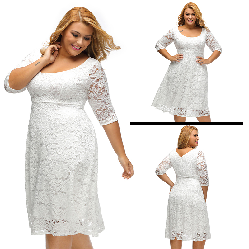 ONLY YOU Fashion Elegant Large Size Lace Dresses 2017 White Floral Lace  Sleeved Fit and Flare Curvy Dress Vestidos Mujer LC61395-in Dresses from  Women s ... 2c2e680e3ce