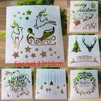 6pc Stencil Deer Christmas Template Painting Stencil For Scrapbooking Stamp Embossing Card DIY Craft Plastic Drawing Templates