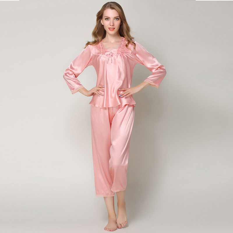 Sweet Autumn   Pajamas     Sets   Female Silk Satin Sleepwear Suit Pyjamas Women Home Sleep Wear Tops Pants Plus Size Pijama Mujer