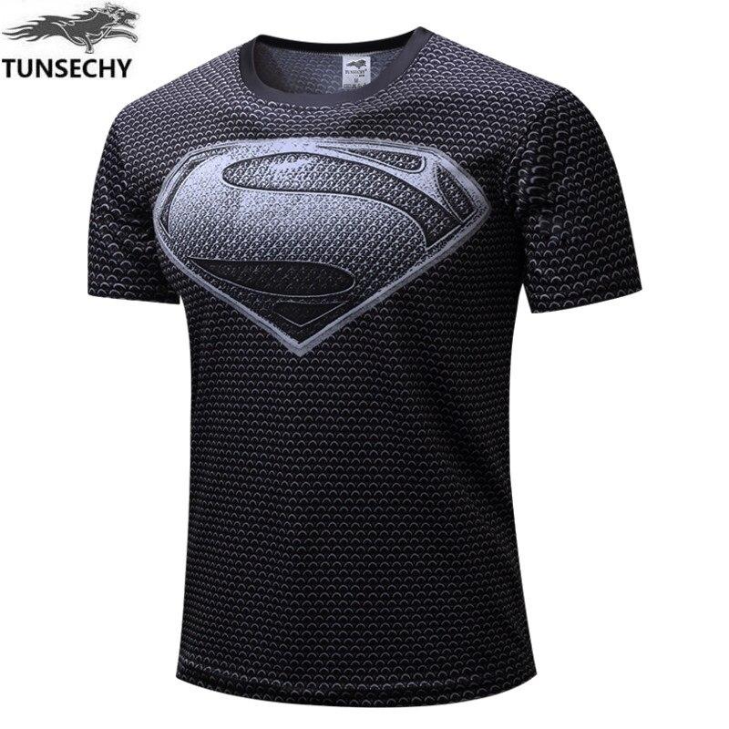 New 2017 men Iron man tight Quick dry, brand man short sleeve t-shirts size XS - XXXXL captain America, superman T-shirt