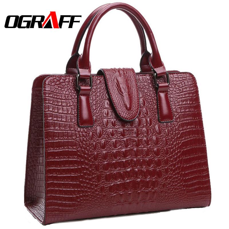 Prix pour OGRAFF Véritable sac en cuir dames 2017 crocodile motif Femmes sacs messenger sacs à main femmes célèbre concepteur de marque de haute qualité