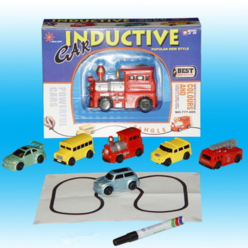 1 piezas Mini pluma mágica inductivo de juguete modelo de coche serie rompecabezas sigue en cualquier línea que dibujar juguetes para niños regalo de Cumpleaños de niños