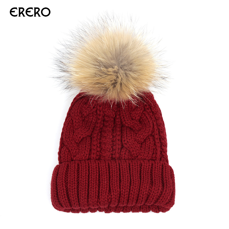 1pcs efero Fashion Girl's Skullies Beanies Winter Hats For Women Knitting Cap Hat Ball Pompoms Beanies Hat Thick Warm Female Cap skullies