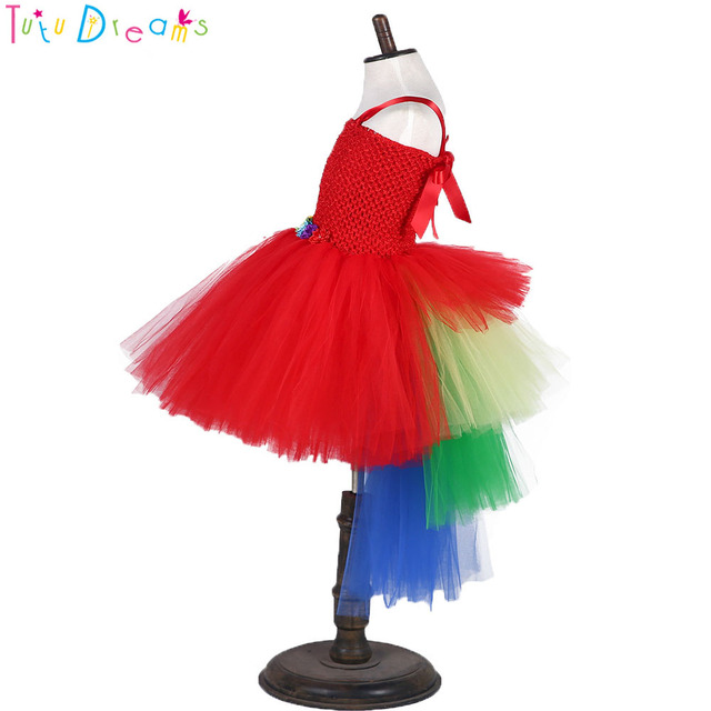84b4adc5ff0 Robe rouge perroquet Tutu robe fille Scarlett Macaw Costume Halloween bébé  infantile Smash gâteau filles anniversaire