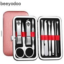 цена на 10 in 1 Manicure Set Professional Nail Clipper Kit Utility Pedicure Scissors Tweezer Knife Ear Pick Nails Art Beauty Tools Sets