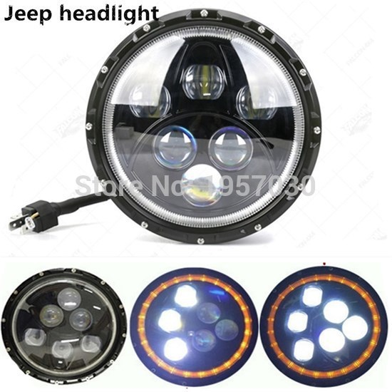 DC12V-24V 60W Automotive LED Headlight with Angel Eyes,7inch CAR Vehicle 6000k 7 LED motorcycle  Headlight Car NEW Accessory 2pcs 2017 new design 7 inch 40w motorcycle led auto angel eyes led headlight bulb with high quality