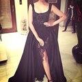 Negro elegante completo rebordear tren vestidos largos Celebrity vestidos para ocasiones especiales Celebrity vestidos