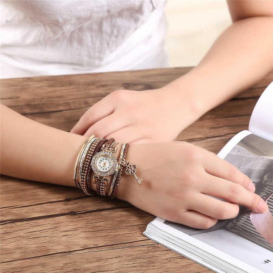 CCQ Brand Fashion Luxury Gold Crystal Key Watch Casual Women Dress Braided Bracelet Wristwatch Female Quartz Wristwatches 2017