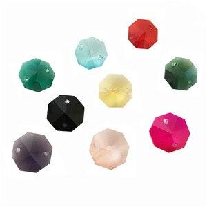 Image 3 - 12000 יח\חבילה, מעורב צבע 14mm חרוזים מתומן ב 2 חורים עבור גביש נברשת פריזמה חרוזים משלוח חינם