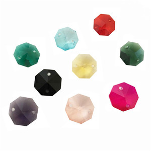 Image 3 - 12000pcs/Lot ,Mixed Color 14mm Crystal Octagon Beads In 2 Holes For Crystal Chandelier Prism Beads Free Shipping