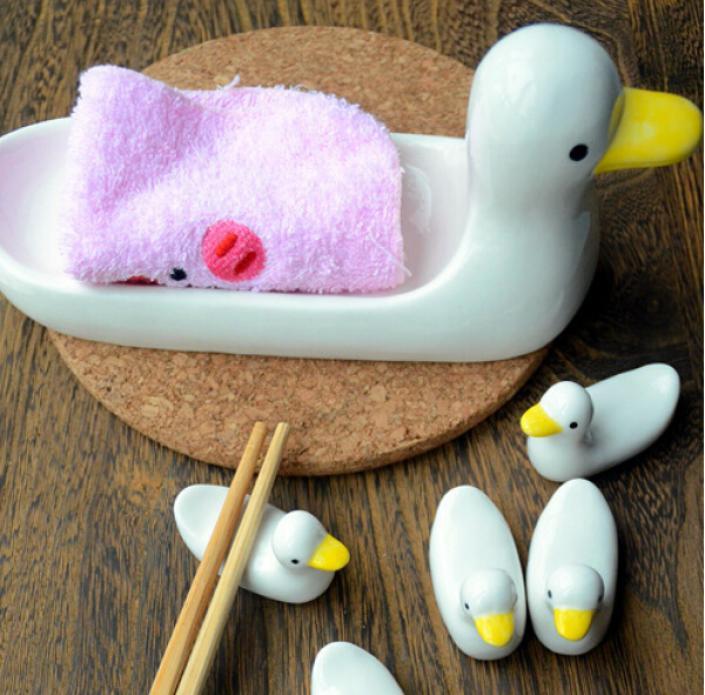 White Ducks Chopsticks Napkin Rest Stand Holder Set Chinese Oriental ...