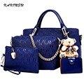 2016 Moda Feminina Messenger Bags Soperwillton Famoso Saco de Mulheres Marca Top-Handle Bags Conjunto Bolsa De Couro PU Saco Composto #8901