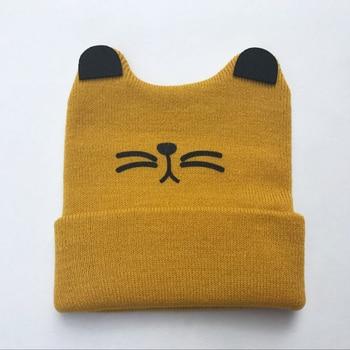 Gorros para bebés recién nacidos gorro de punto de dibujos animados para niños pequeños niños niñas Gorro con orejas de gato gorro infantil otoño invierno cálido