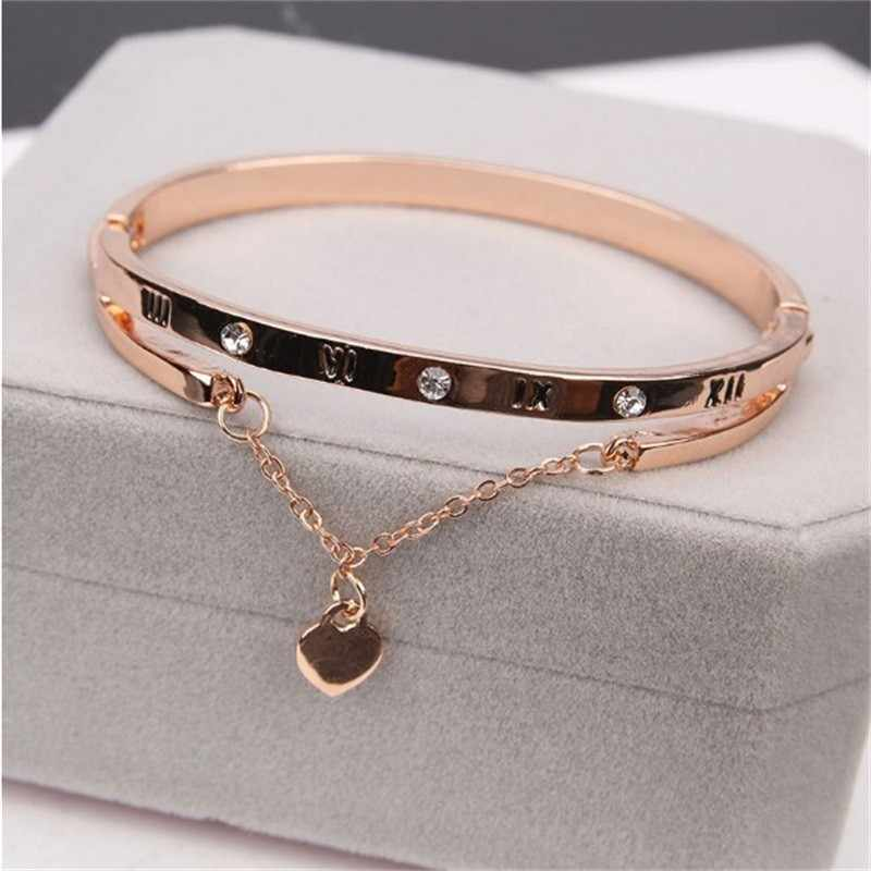 Heart Forever Love Charm Bracelet Luxury Bracelets & Bangles Famous Brand Jewelry Rose Gold Stainless Steel Female  For Women