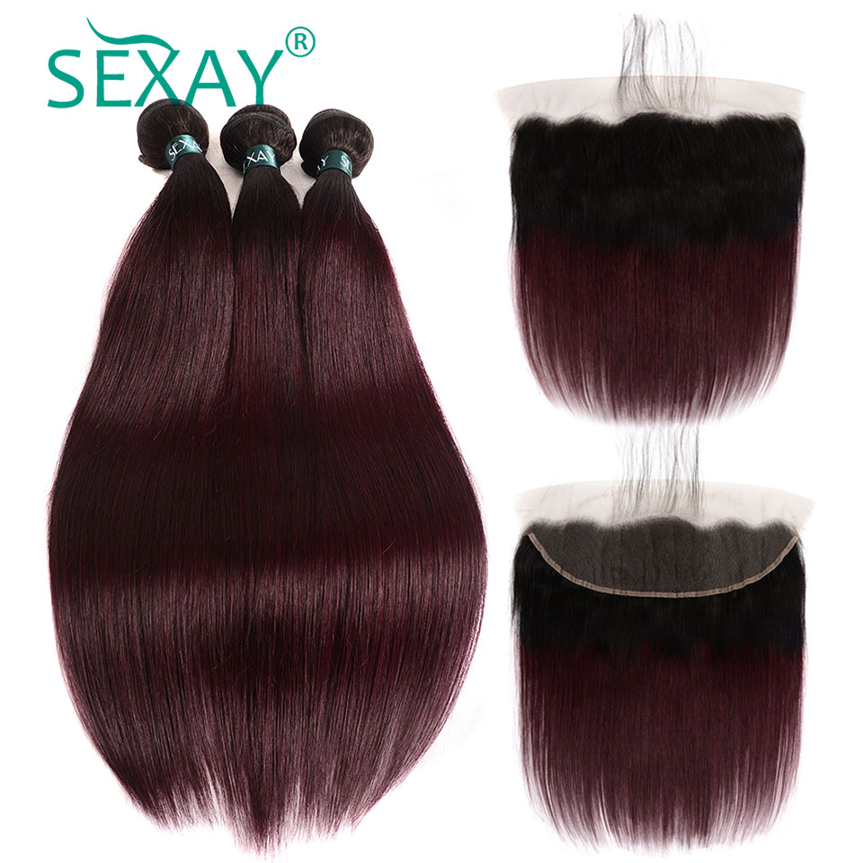 99J Bundles With Frontal SEXAY Burgundy Human Hair Bundles With 13x4 Frontal Closures Ombre Dark Red Wine Colored Non Remy Hair