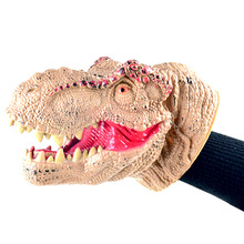 Colorful Realistic Dinosaur Figures Hand Puppets Gloves Soft Vinyl Rubber Animal Shark Cow Head Action Finger Dinosaur Model Toy hot toy mosasaurus dinosaur model hand paint soft pvc animal action