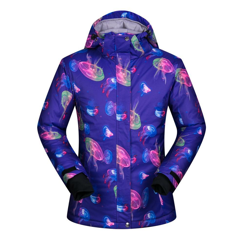 Prix pour Octopus Impression Femelle Ski Veste Imperméable Chaud Hiver Femmes Snowboard Ski Vestes Coupe-Vent de Neige Manteau Pour Femme S-XL
