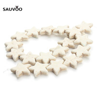 SAUVOO Approx 32pcslot 14mm Multi Colors Five Star Synthetic Stone Loose Spacer Beads for Necklace Bracelet Jewelry Making