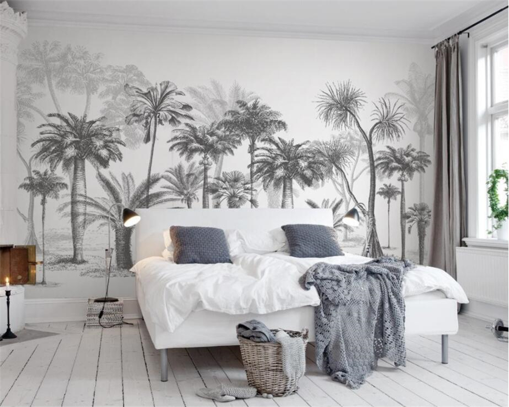 custom wallpaper mural black and white sketch tropical rainforest coconut tree nordic tv sofa. Black Bedroom Furniture Sets. Home Design Ideas