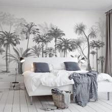 Custom wallpaper Mural Black and White Sketch Tropical Rainforest Coconut Tree Nordic TV Sofa Background walls 3d Wallpaper