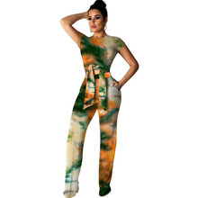 цена на Tie Dye Print Two Piece Set Women Summer Sweat Suits 2 Piece Outfits Short Sleeve T Shirt Tops + Wide Leg Pants Casual Tracksuit